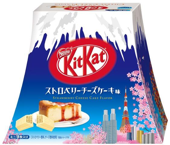 雀巢 KITKAT 迷你型 士多啤梨芝士蛋糕口味 富士山造型包裝盒9片